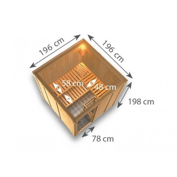 Sauna kabine Mirva 196x196x198 cm 9 kW Elovn