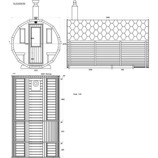 Sauna tønde Thermowood 350 cm Elovn Saml Selv