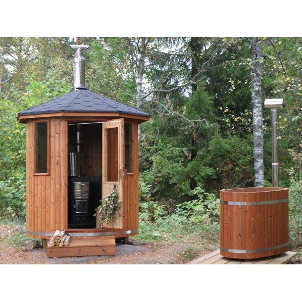 Sauna Tønde Thermowood Ø180 Brændeovn-Stålplade Saml selv