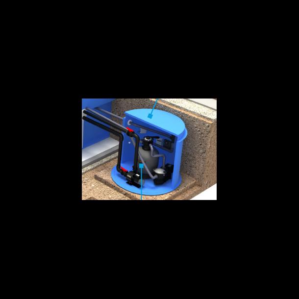PP pool rektangulær Skimmer 2,7x6x1,5 + teknologi box + Trappe