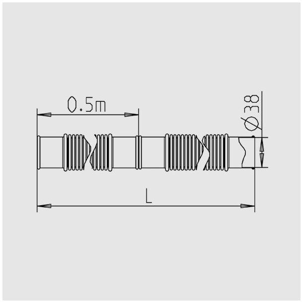 Solar Spiral Slange Ø38 mm - Sort Pris per 1,5 m