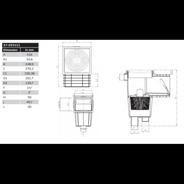 Skimmer standard med liner kit til nedgravet pool