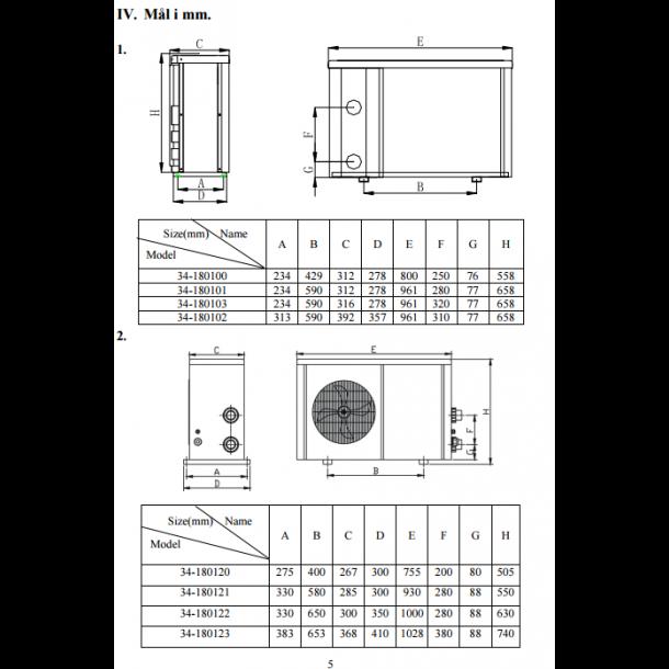 Varmepumpe til pool 5 kw op til 20 m3 - luft til vand