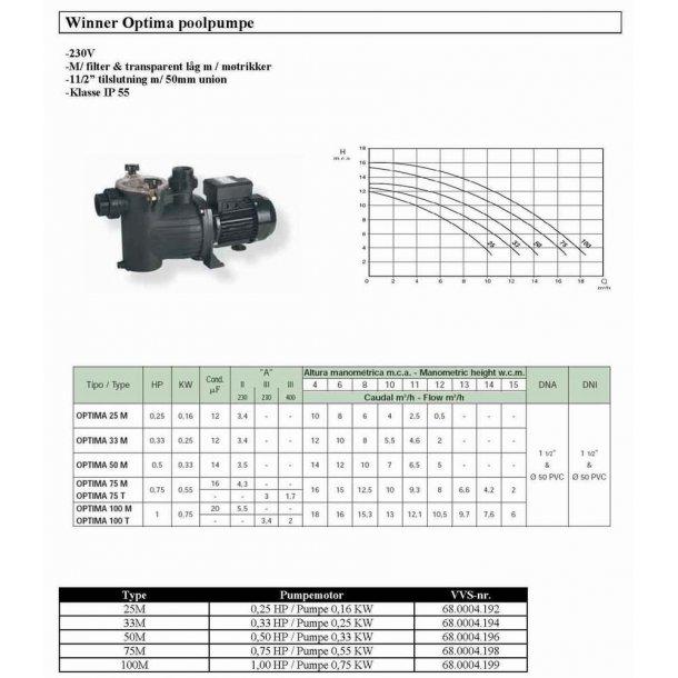 Pool pumpe saci type optima ydelse 0,25 - 1 hk