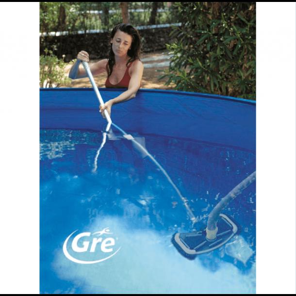 Rengøringssæt til pool 6 m slange, stang og hoved med sidebørster