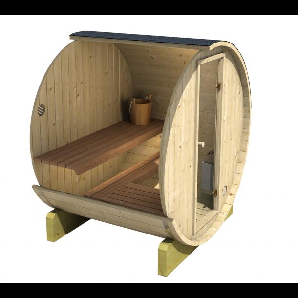 Sauna Tønde 160 cm Elovn 3-4 pers. 4 varianter