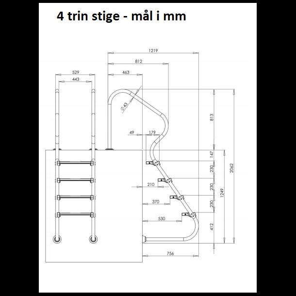 Rustfri Poolstige nedgravet pool m/4 dobbelt trin - AISI304