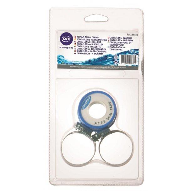 Teflon tape (gevindtape) + 4 spændebånd