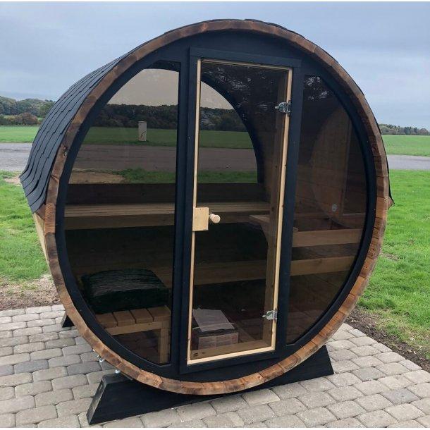 Pool Sauna 160 cm Elovn Glasfront - Halv Panorama Glas