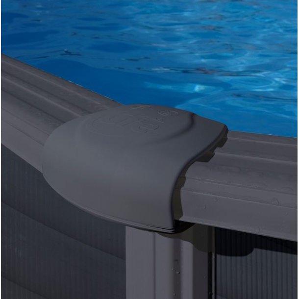 Pool Rund Grafit Stålvæg Uden pumpe h 1,2 m - 3 størrelser Gre