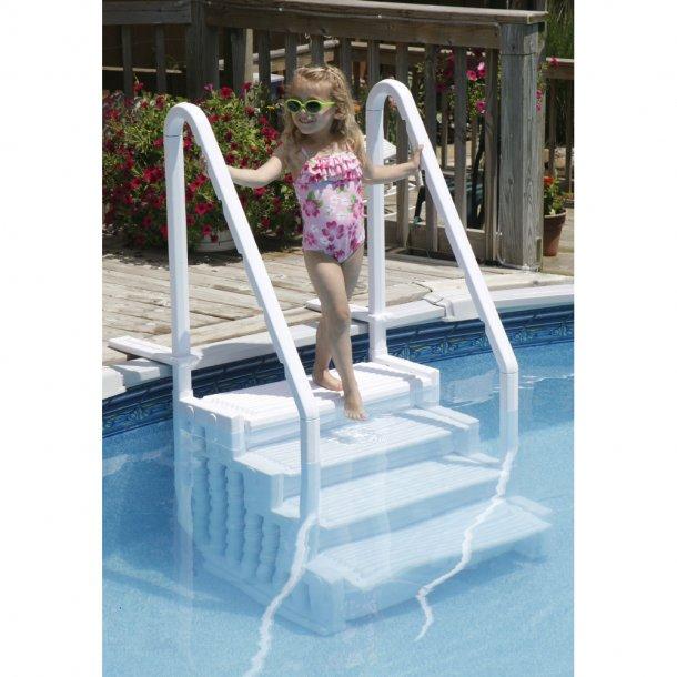 Trappe til Pool med 4 trin i kraftig Plast